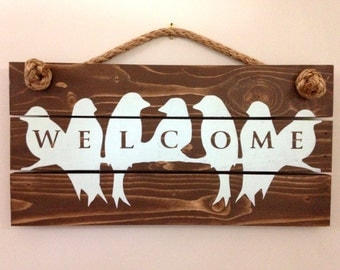 Songbird Welcome Sign, Bird Wood Sign, Rustic Welcome Sign, Rustic Wood Sign, Hanging Sign, Front Door Sign, Barn Swallow Sign