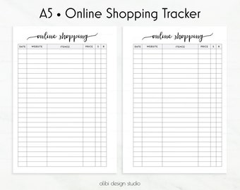 Online Shopping, A5 Planner Inserts, Shopping Tracker, Shopping Printable, A5 Inserts, Shopping List, Shopping Checklist, To Do List