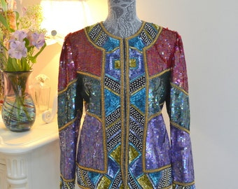 LAURENCE KAZAR vintage silk beaded jacket