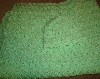 Super Soft Handmade Baby Crocheted Blanket approx. 30 X30 Inches for Crib- Car seat -swing -Bassinet-Newborn gift