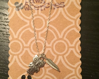Owl & Feather Necklace