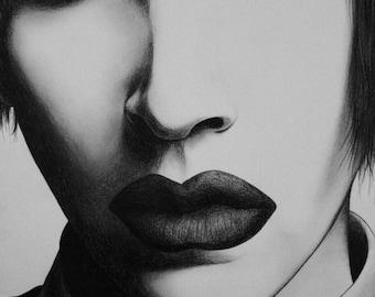 marilyn manson portrait print.