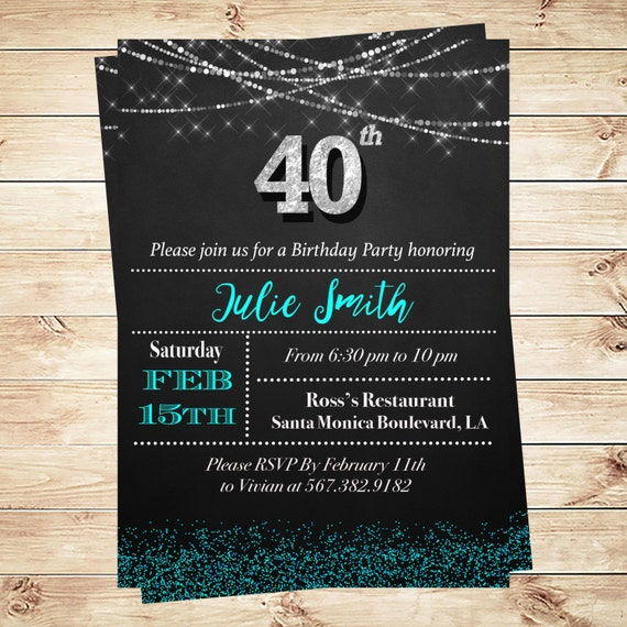 Items Similar To 40th Birthday Invitations Adult Party Black And