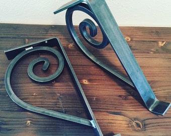 Sale! Shelf Brackets, 2 PC Set, Hand Scrolled, Handmade, Metal, Corbel, Support, Open Shelving, Rustic Style, Farmhouse, Iron Scrolls