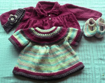 Baby Girl's  Hand knittedYoked Dress, Jacket, Headband and Shoes