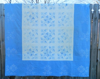 Cross Stitched Hand Quilted Vintage Quilt