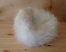"""Extra soft Faux Fur beanbag chair for your American girl or other 18"""" doll. White Faux Fur. High style in a small package."""