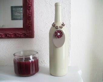 Painted Wine Bottle Vase with Wine Bottle Charm, Personalized Rustic Wedding Centerpiece, Sage Green and Burgundy, Wine Bottle Wedding