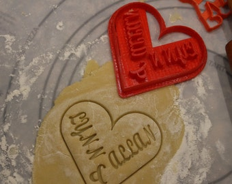 Wedding, Shower, Valentine, Engagement, Anniversary Personalized Cookie Cutter / Fondant Cutter