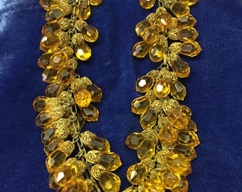 Vintage, Haskell , Art Deco Necklace,  Golden Amber, Glass Bead Fringe, 1930's Jewelry