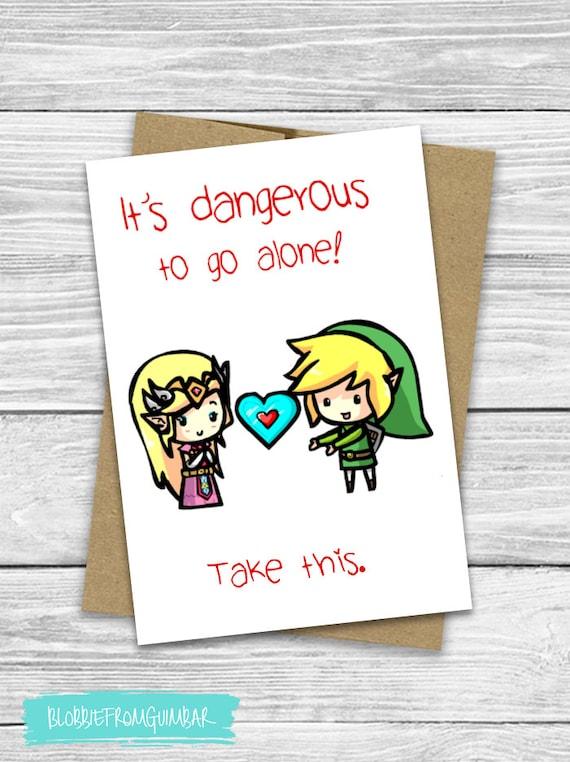I Love You | Cute Boyfriend Card | Valentine's Day | Girlfriend | Nintendo | Nerdy Gamer | Legend of Zelda Link | It's Dangerous to Go Alone