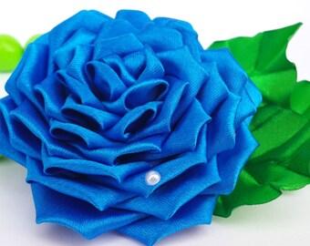 kanzashi flower, blue flower, kanzashi, barrette, white flower, kids hair clip, toddler hair clip, adult hair clip