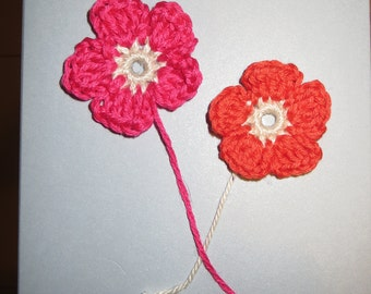 Handmade Birthday card with crochet flower motifs and a choice of wording
