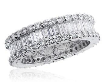 18K White Gold Round Brilliant & Baguette Diamond Eternity Wedding Band 2.51 tcw
