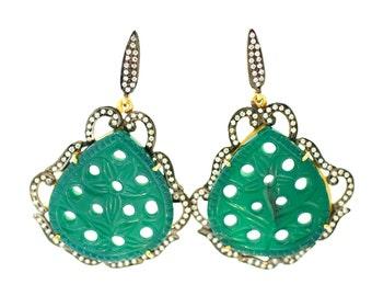 Carved Green Onyx Earrrings--Green Gemstone Earrings--Green Earrings