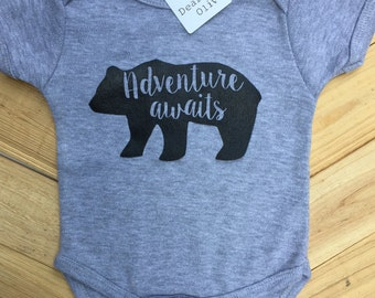 Adventure Awaits Baby Boy Bodysuit, Baby Shower gift, Baby Gift, Baby Boy clothing, Baby Boy Clothes, Trendy Baby Boy, Adventure Baby Boy