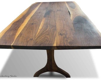 Rustic Walnut Dining Table with Live Edge
