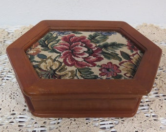 Vintage Wood Jewelry Box Floral Tapestry Mele