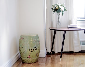 Porcelain Stool - Birds & Willow in Olive