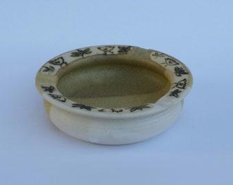 ceramic ashtray, handmade, pottery, stoneware, bird, hand painted, original design, thrown on the wheel, gift for smokers