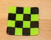 Green Chequered Decorative Dish ~ Unique Present for Birthday Gift ~ Trinket Table Sweet Fused Glass Art ~ Squares, Home Decor, Housewarming