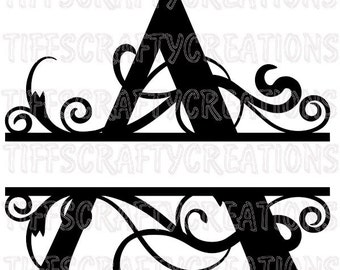 Dxf cutting files monogram font svg cricut fonts monogram letter svg fonts for silhouette cameo font svg font files script font file