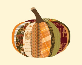 """Holiday Art, Fall Decor, Thanksgiving Art, """"Paper Mache Pumpkin"""""""