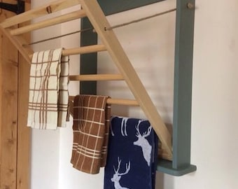 Wall mounted clothes drying rack or towel rail, perfect for modern or country kitchen and great for saving space