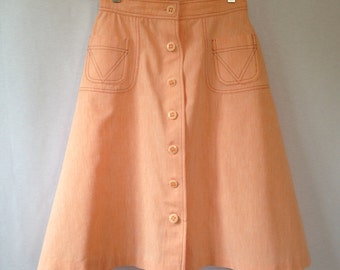 1970s peach button front a line skirt by COLLEGE TOWN sz 11/12