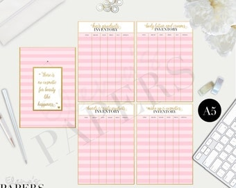 Printable BEAUTY COSMETICS Inventory inserts for your A5 planner: Make-up, Hair, Hands, Body lotion and cream products Inventory