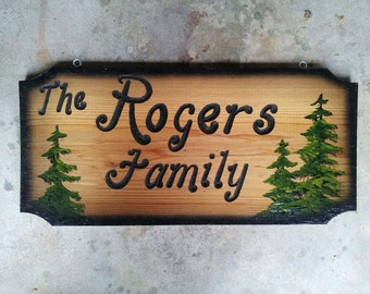 Handmade Personalized Pine Tree Carved Wood Sign, Made to Order
