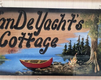 "Personalized Wood Signs Campsite Signs Camper Signs Cabin Signs Carved wood Signs Custom Cottage Signs 12""×24""  made to order"
