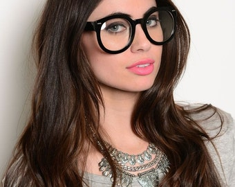 Clear Lens Glasses Round Style Fashionable Hipster