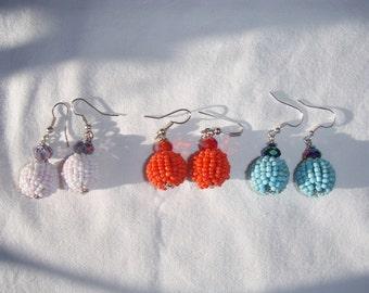 Earrings balls beads made in Bali