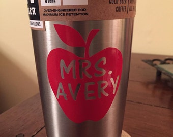 FREE SHIPPING! Red Apple vinyl decal- Great for Teacher gifts and Yeti Cups!