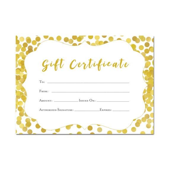 gold gift certificate 5x7 glitter confetti printable