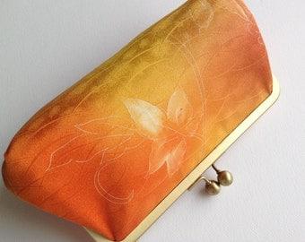 Golden yellow clutch bag/purse made from kimono silk
