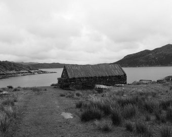 Black and White Photography: Stone Shed Black and White Photographic Print