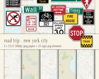 Road Trip - New York City - Clipart & Digital Paper- Digital Collage, PNG+JPG, Instant Download
