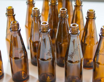 Brown Glass Bottles - Small Glass Bottles - Underberg - Bottle Vases - Rustic Tabletop Decor