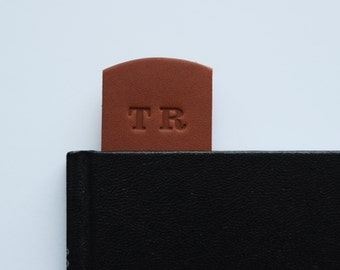 Leather Bookmark Personalised Embossed with your Initials on Premium Dark Tan Vegetable Tanned Leather in Presentation Box