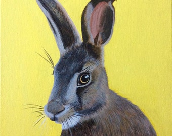 Harry Hare Acrylic Painting on 12 inch by 12 inch canvas