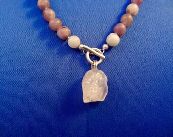 Unique Long Necklace of Amethyst & Toermaline