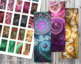 """Digital Collage Sheet - Instant Download - Rectangle Size 1x2"""" + 0.75x1.5"""" + 1x3"""" - domino + microscope - Printable Images - Steampunk Style"""