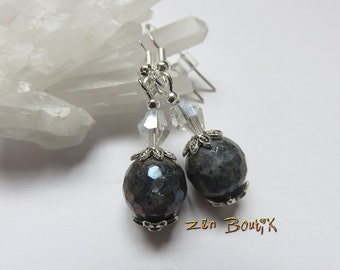 Earrings, faceted Labradorite and Crystal