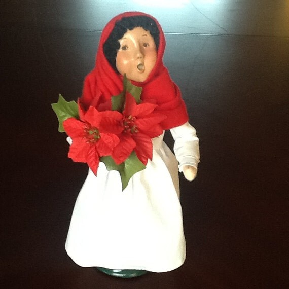 Byers Choice Caroler Mexican Girl w Poinsettas