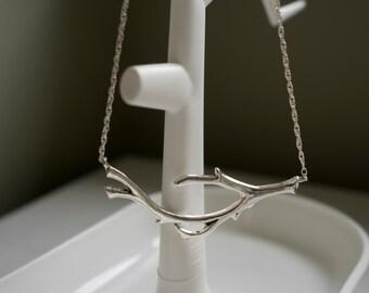 Silver antler necklace - scandi inspired