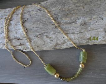 Classy olive jade green garnet & gold vermeil necklace