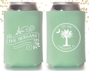 Custom Charleston Wedding Can Cooler Beer Cozy Favor