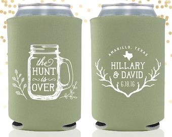 The Hunt is Over Rustic Wedding Can Cooler Beer Cozy